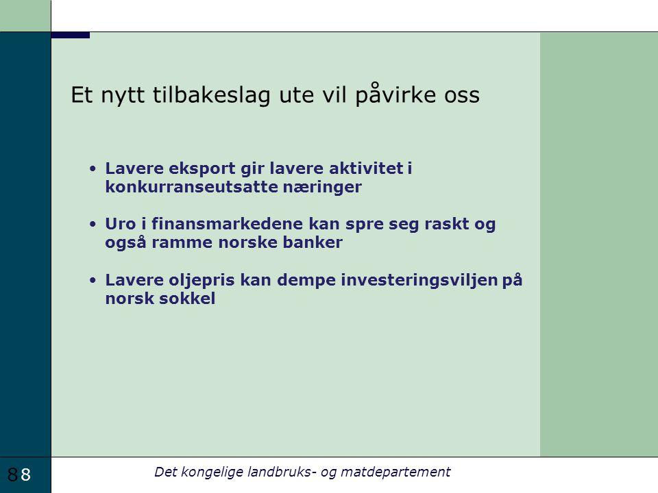 8 Det kongelige landbruks- og matdepartement Et nytt tilbakeslag ute vil påvirke oss Lavere eksport gir lavere aktivitet i konkurranseutsatte næringer Uro i finansmarkedene kan spre seg raskt og også ramme norske banker Lavere oljepris kan dempe investeringsviljen på norsk sokkel 8