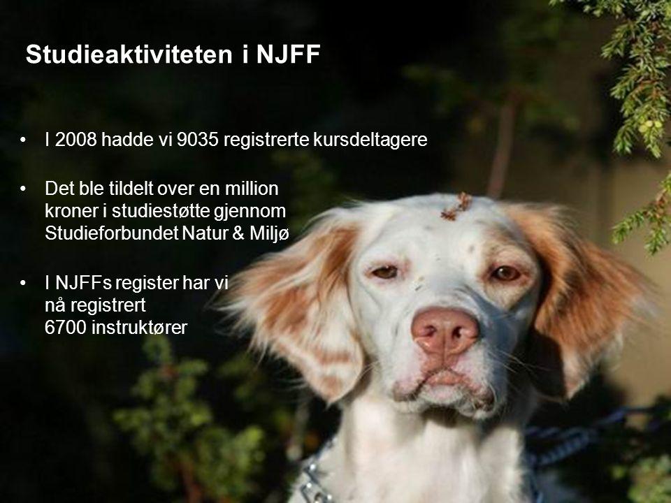Studieaktiviteten i NJFF I 2008 hadde vi 9035 registrerte kursdeltagere Det ble tildelt over en million kroner i studiestøtte gjennom Studieforbundet Natur & Miljø I NJFFs register har vi nå registrert 6700 instruktører