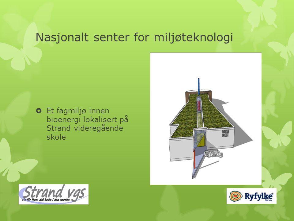 Nasjonalt senter for miljøteknologi  Et fagmiljø innen bioenergi lokalisert på Strand videregående skole