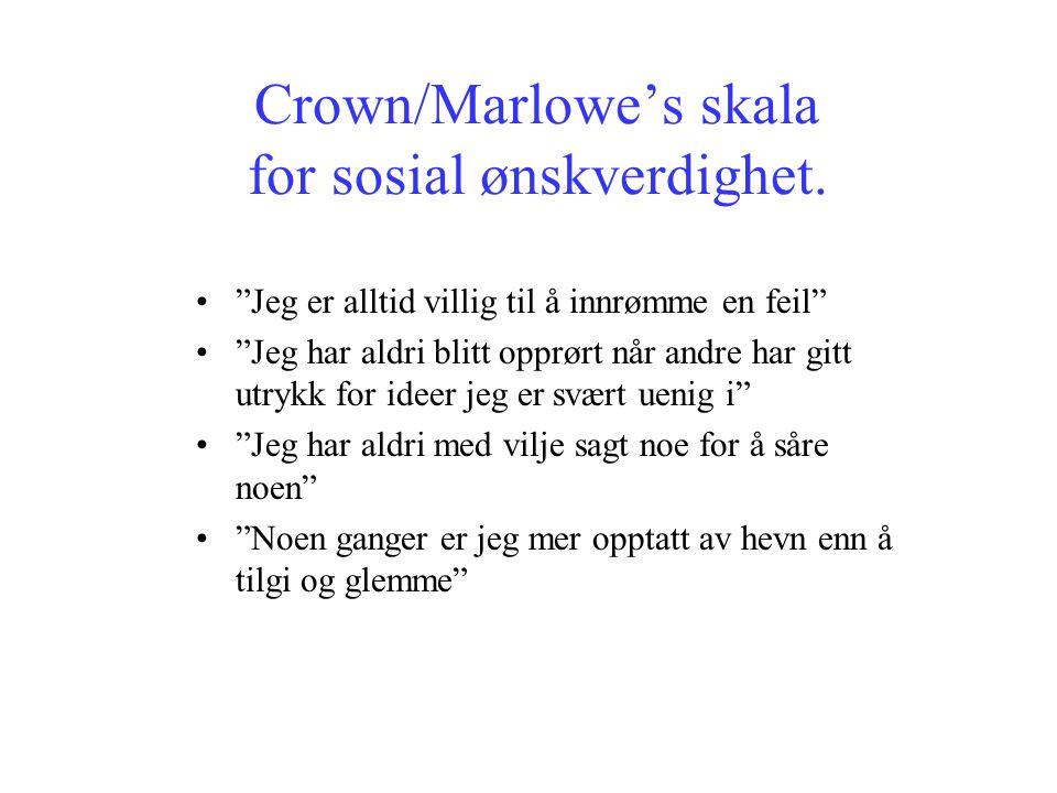 """Crown/Marlowe's skala for sosial ønskverdighet. """"Jeg er alltid villig til å innrømme en feil"""" """"Jeg har aldri blitt opprørt når andre har gitt utrykk f"""