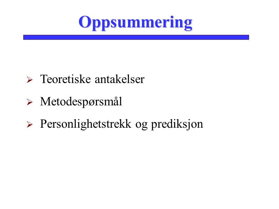 Oppsummering  Teoretiske antakelser  Metodespørsmål  Personlighetstrekk og prediksjon