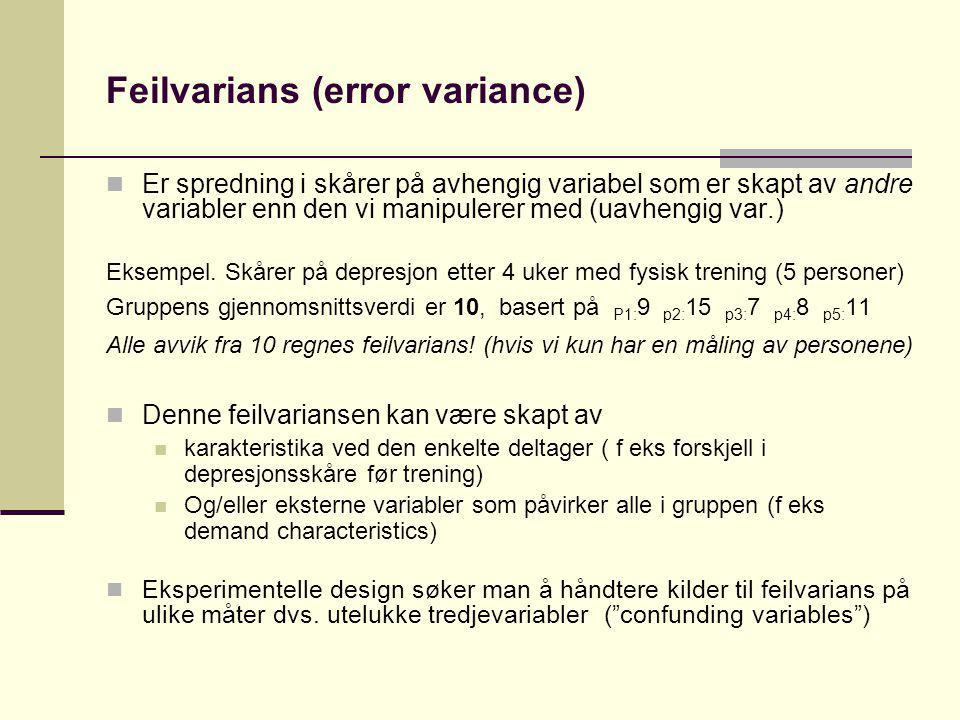 Feilvarians (error variance) Er spredning i skårer på avhengig variabel som er skapt av andre variabler enn den vi manipulerer med (uavhengig var.) Ek