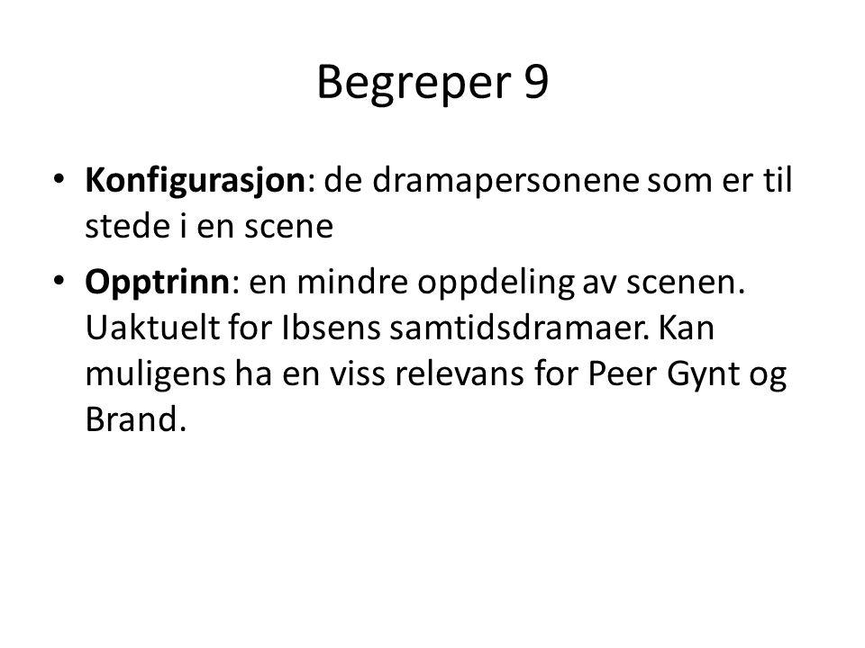 Begreper 9 Konfigurasjon: de dramapersonene som er til stede i en scene Opptrinn: en mindre oppdeling av scenen. Uaktuelt for Ibsens samtidsdramaer. K