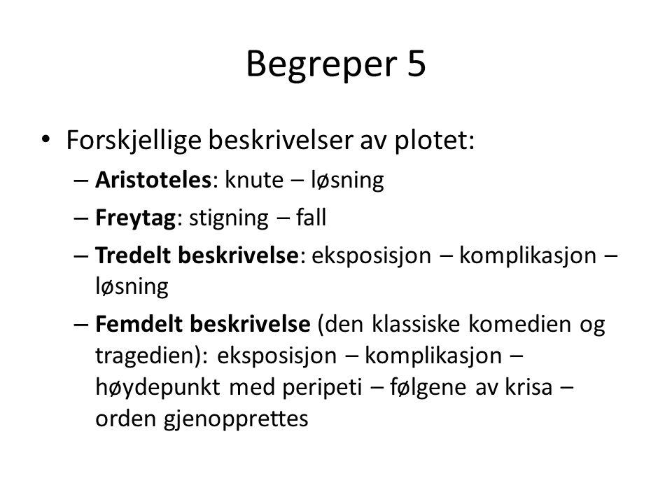 Begreper 5 Forskjellige beskrivelser av plotet: – Aristoteles: knute – løsning – Freytag: stigning – fall – Tredelt beskrivelse: eksposisjon – komplik