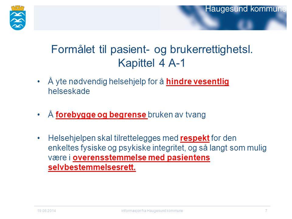 Formålet til pasient- og brukerrettighetsl.