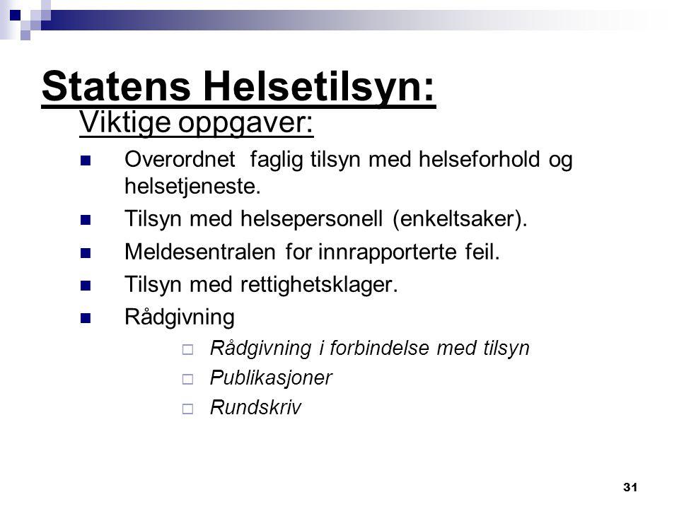 31 Statens Helsetilsyn: Viktige oppgaver: Overordnet faglig tilsyn med helseforhold og helsetjeneste. Tilsyn med helsepersonell (enkeltsaker). Meldese