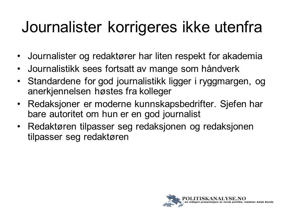 Journalister korrigeres ikke utenfra Journalister og redaktører har liten respekt for akademia Journalistikk sees fortsatt av mange som håndverk Stand