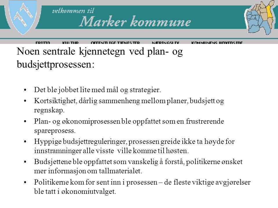 Noen sentrale kjennetegn ved plan- og budsjettprosessen: Det ble jobbet lite med mål og strategier.