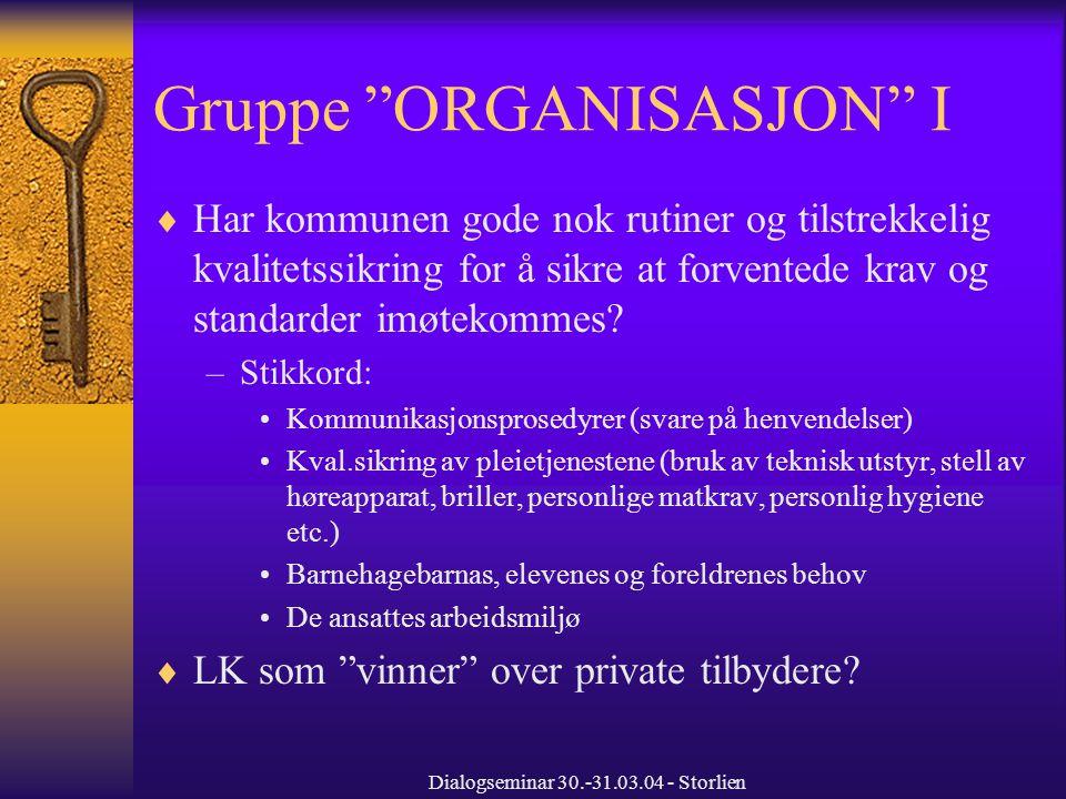 Dialogseminar 30.-31.03.04 - Storlien Gruppe ORGANISASJON I  Har kommunen gode nok rutiner og tilstrekkelig kvalitetssikring for å sikre at forventede krav og standarder imøtekommes.