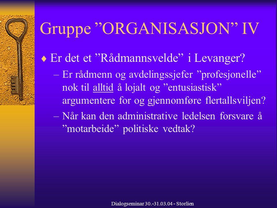 Dialogseminar 30.-31.03.04 - Storlien Gruppe ORGANISASJON IV  Er det et Rådmannsvelde i Levanger.