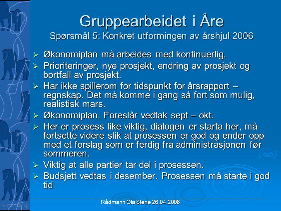 Ola Stene 26.04.2006 Rådmann Ola Stene 26.04.2006 Gruppearbeidet i Åre Spørsmål 5: Konkret utformingen av årshjul 2006  Økonomiplan må arbeides med k