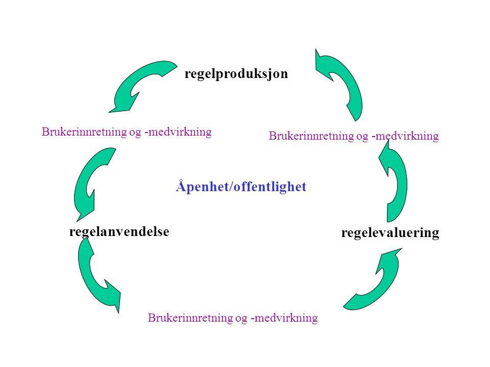 regelproduksjon regelanvendelse Brukerinnretning og -medvirkning regelevaluering Brukerinnretning og -medvirkning Åpenhet/offentlighet