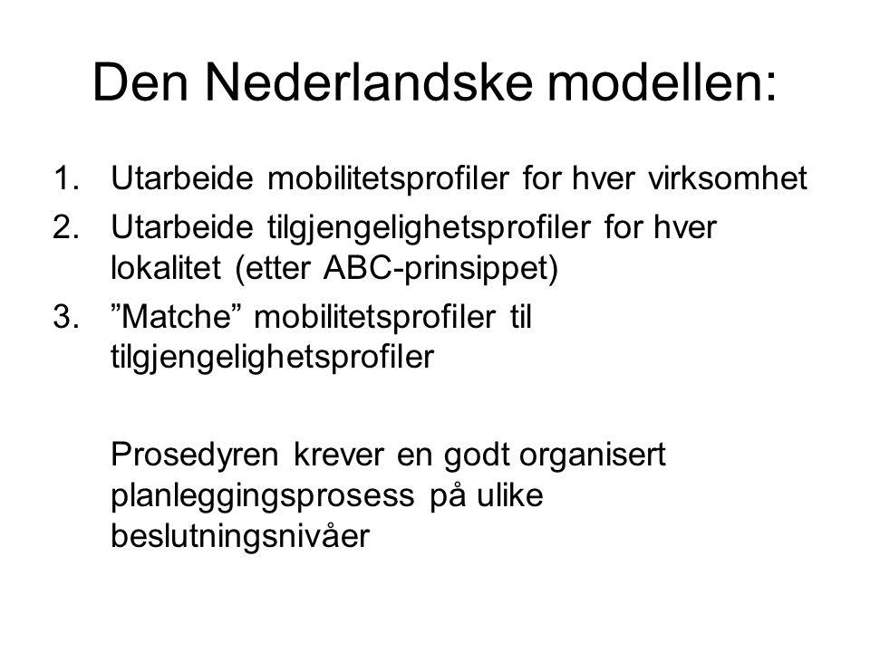 Den Nederlandske modellen: 1.Utarbeide mobilitetsprofiler for hver virksomhet 2.Utarbeide tilgjengelighetsprofiler for hver lokalitet (etter ABC-prinsippet) 3. Matche mobilitetsprofiler til tilgjengelighetsprofiler Prosedyren krever en godt organisert planleggingsprosess på ulike beslutningsnivåer