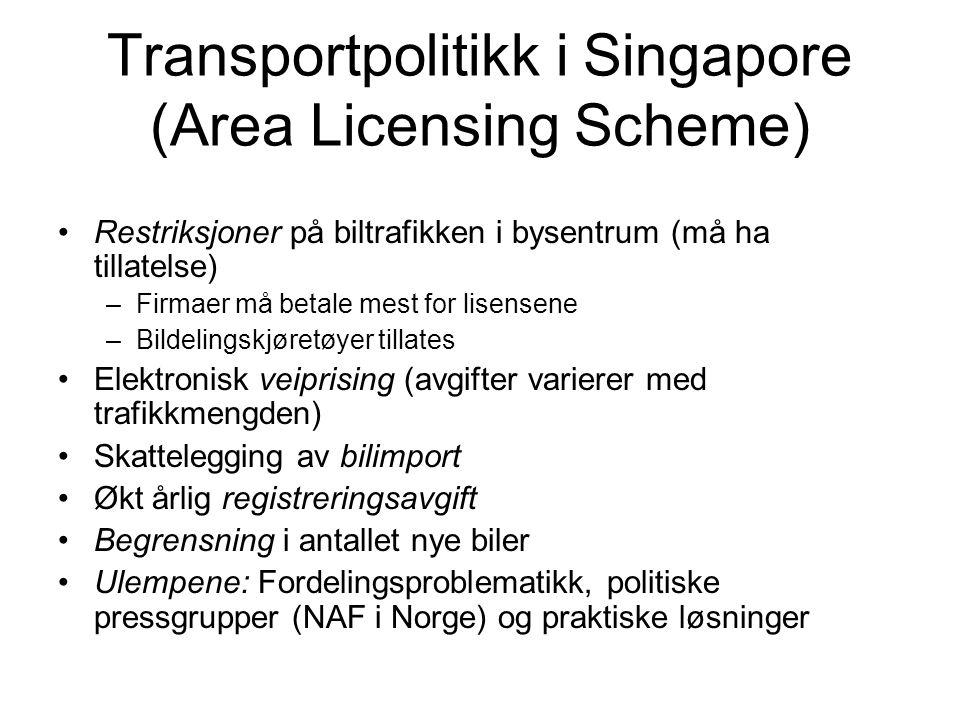Transportpolitikk i Singapore (Area Licensing Scheme) Restriksjoner på biltrafikken i bysentrum (må ha tillatelse) –Firmaer må betale mest for lisensene –Bildelingskjøretøyer tillates Elektronisk veiprising (avgifter varierer med trafikkmengden) Skattelegging av bilimport Økt årlig registreringsavgift Begrensning i antallet nye biler Ulempene: Fordelingsproblematikk, politiske pressgrupper (NAF i Norge) og praktiske løsninger