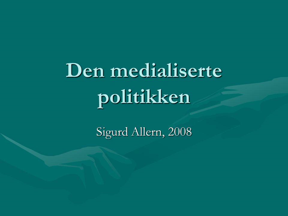 Maktforholdet mellom politikere og journalister er endret Begrepet politikkens medialisering betegner hvordan de politiske aktørene og institusjonene påvirkes av og tilpasser seg endringer i mediene (Asp 1986, sitert i Todal Jenssen/Aalberg: 10)Begrepet politikkens medialisering betegner hvordan de politiske aktørene og institusjonene påvirkes av og tilpasser seg endringer i mediene (Asp 1986, sitert i Todal Jenssen/Aalberg: 10) Mediene har styrket sin makt vis-à-vis de tradisjonelle politiske aktøreneMediene har styrket sin makt vis-à-vis de tradisjonelle politiske aktørene Medienes økte betydning for den politiske kommunikasjon er knyttet til deres rolle som selvstendig forhandler av det offentlige samtykke til politiske beslutninger (Hjarvard 1999, s.