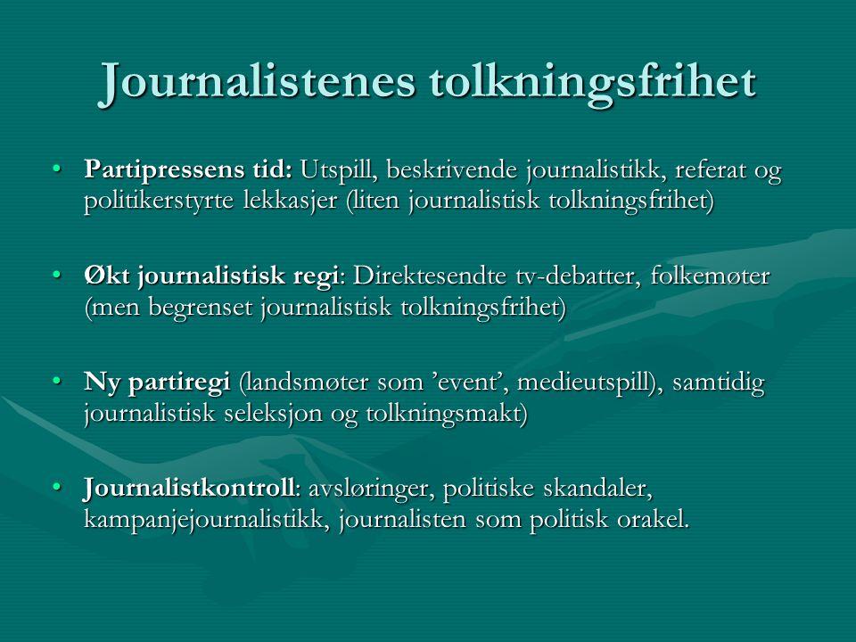 Journalistenes tolkningsfrihet Partipressens tid: Utspill, beskrivende journalistikk, referat og politikerstyrte lekkasjer (liten journalistisk tolkni