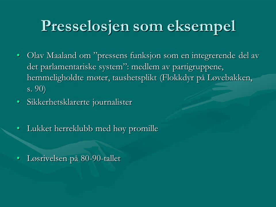 """Presselosjen som eksempel Olav Maaland om """"pressens funksjon som en integrerende del av det parlamentariske system"""": medlem av partigruppene, hemmelig"""