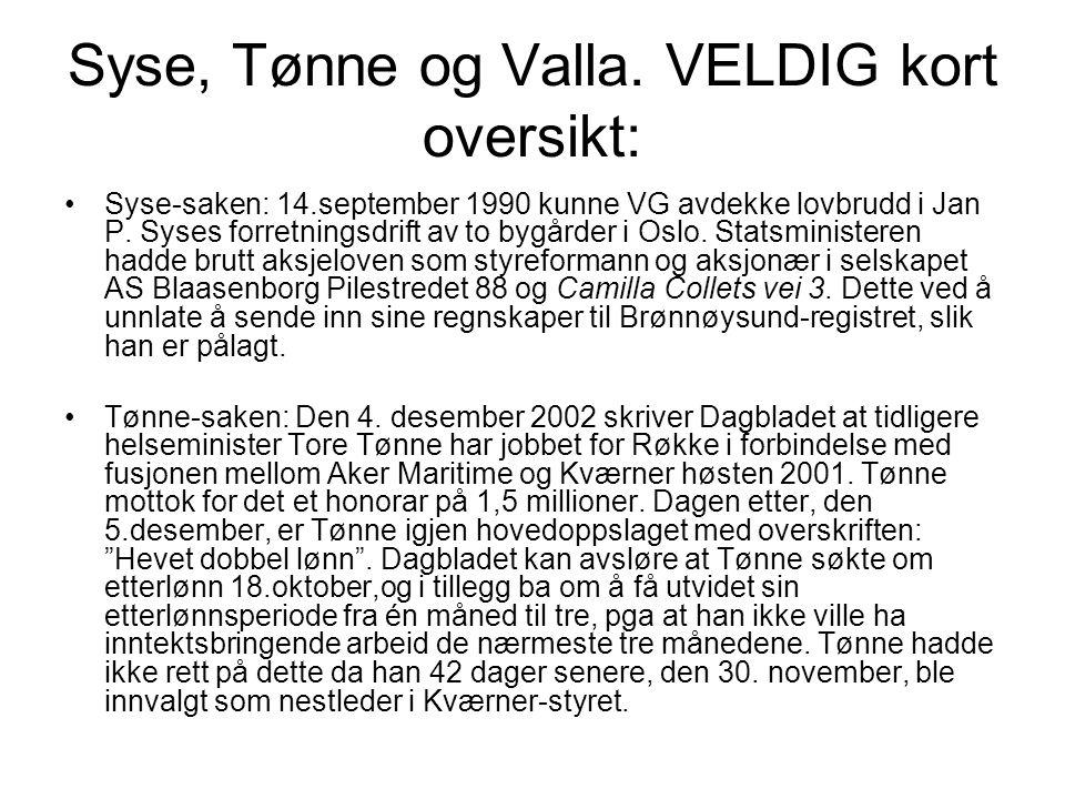 Syse, Tønne og Valla. VELDIG kort oversikt: Syse-saken: 14.september 1990 kunne VG avdekke lovbrudd i Jan P. Syses forretningsdrift av to bygårder i O