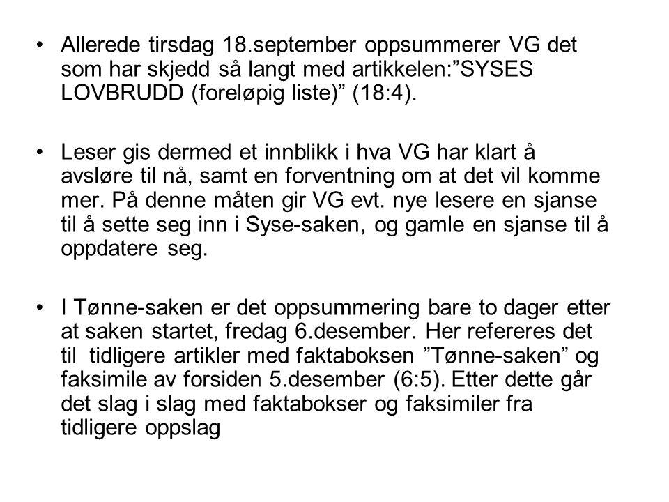 """Allerede tirsdag 18.september oppsummerer VG det som har skjedd så langt med artikkelen:""""SYSES LOVBRUDD (foreløpig liste)"""" (18:4). Leser gis dermed et"""