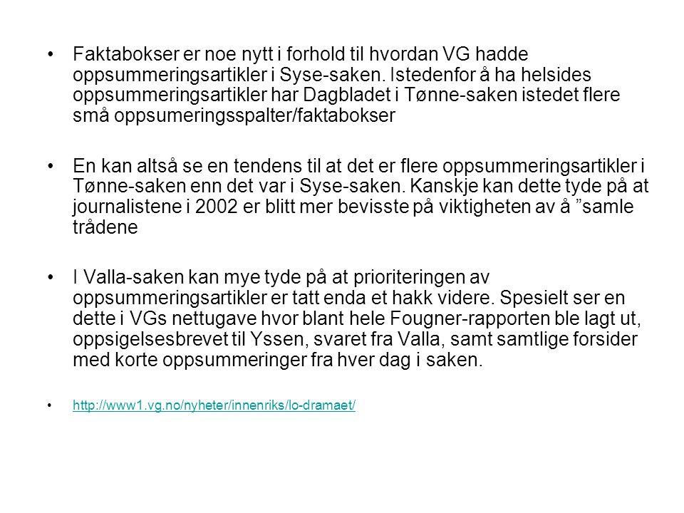 Faktabokser er noe nytt i forhold til hvordan VG hadde oppsummeringsartikler i Syse-saken. Istedenfor å ha helsides oppsummeringsartikler har Dagblade