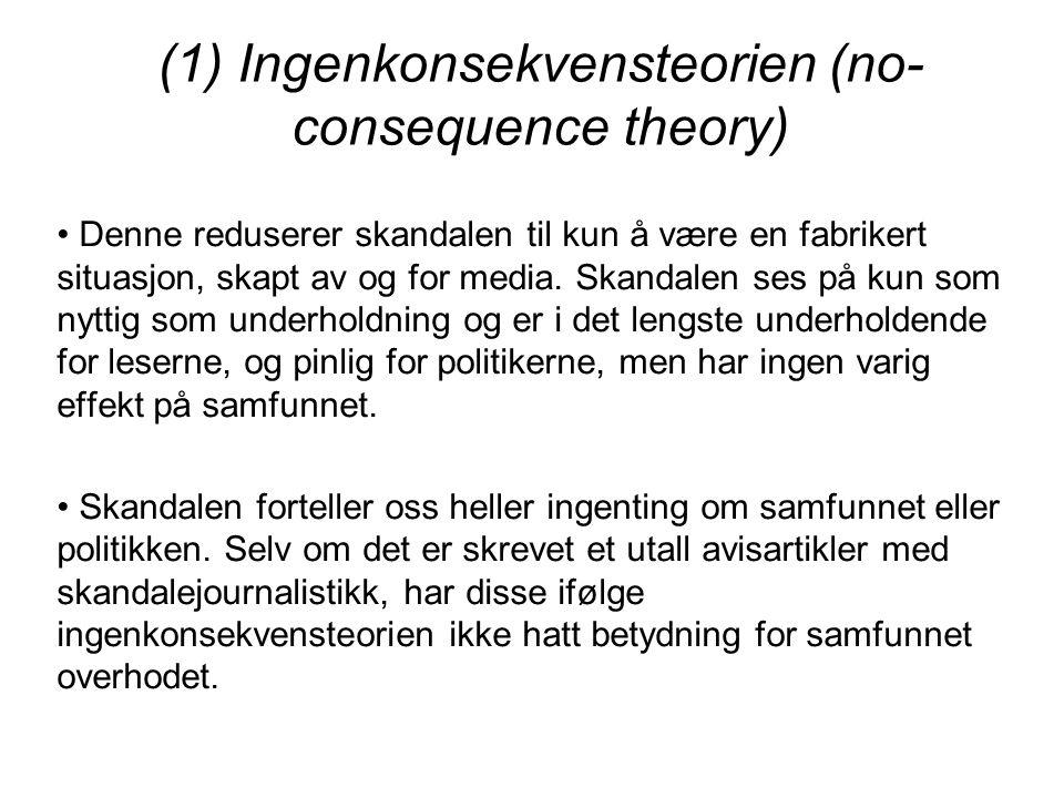 (1) Ingenkonsekvensteorien (no- consequence theory) Denne reduserer skandalen til kun å være en fabrikert situasjon, skapt av og for media. Skandalen
