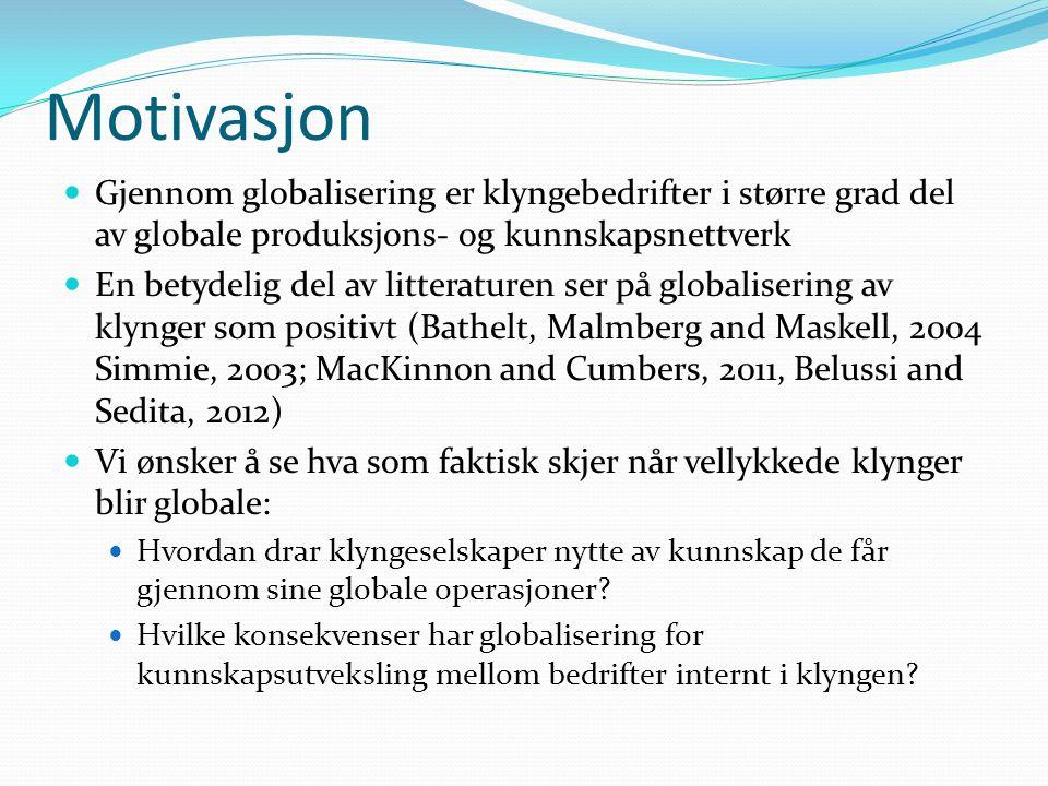 Motivasjon Gjennom globalisering er klyngebedrifter i større grad del av globale produksjons- og kunnskapsnettverk En betydelig del av litteraturen se