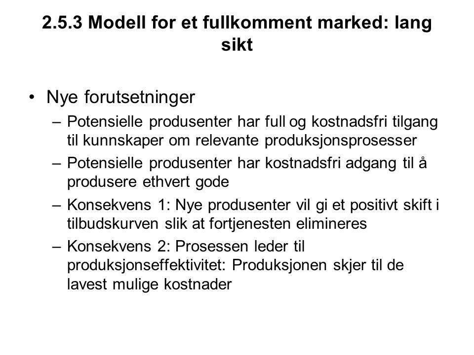 2.5.3 Modell for et fullkomment marked: lang sikt Nye forutsetninger –Potensielle produsenter har full og kostnadsfri tilgang til kunnskaper om releva