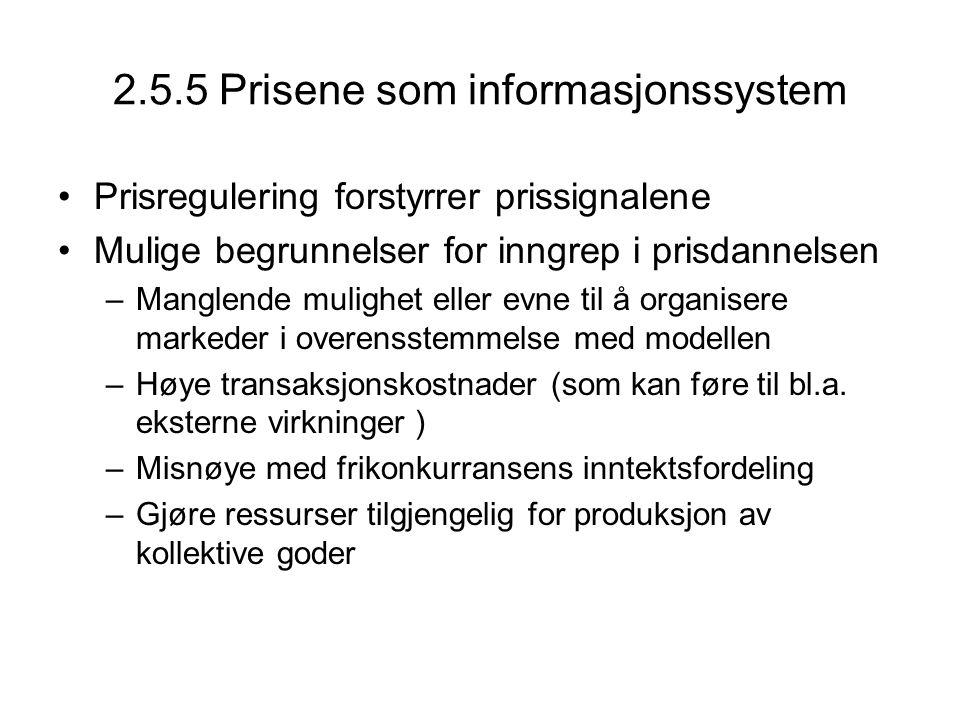 2.5.5 Prisene som informasjonssystem Prisregulering forstyrrer prissignalene Mulige begrunnelser for inngrep i prisdannelsen –Manglende mulighet eller