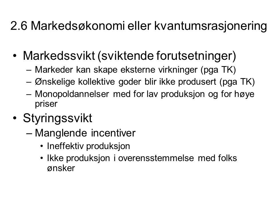 2.6 Markedsøkonomi eller kvantumsrasjonering Markedssvikt (sviktende forutsetninger) –Markeder kan skape eksterne virkninger (pga TK) –Ønskelige kolle