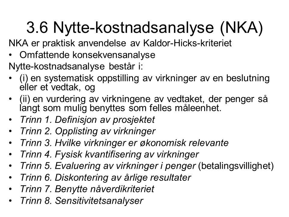 3.6 Nytte-kostnadsanalyse (NKA) NKA er praktisk anvendelse av Kaldor-Hicks-kriteriet Omfattende konsekvensanalyse Nytte-kostnadsanalyse består i: (i)