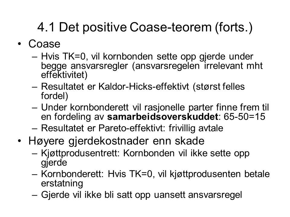 4.1 Det positive Coase-teorem (forts.) Coase –Hvis TK=0, vil kornbonden sette opp gjerde under begge ansvarsregler (ansvarsregelen irrelevant mht effe