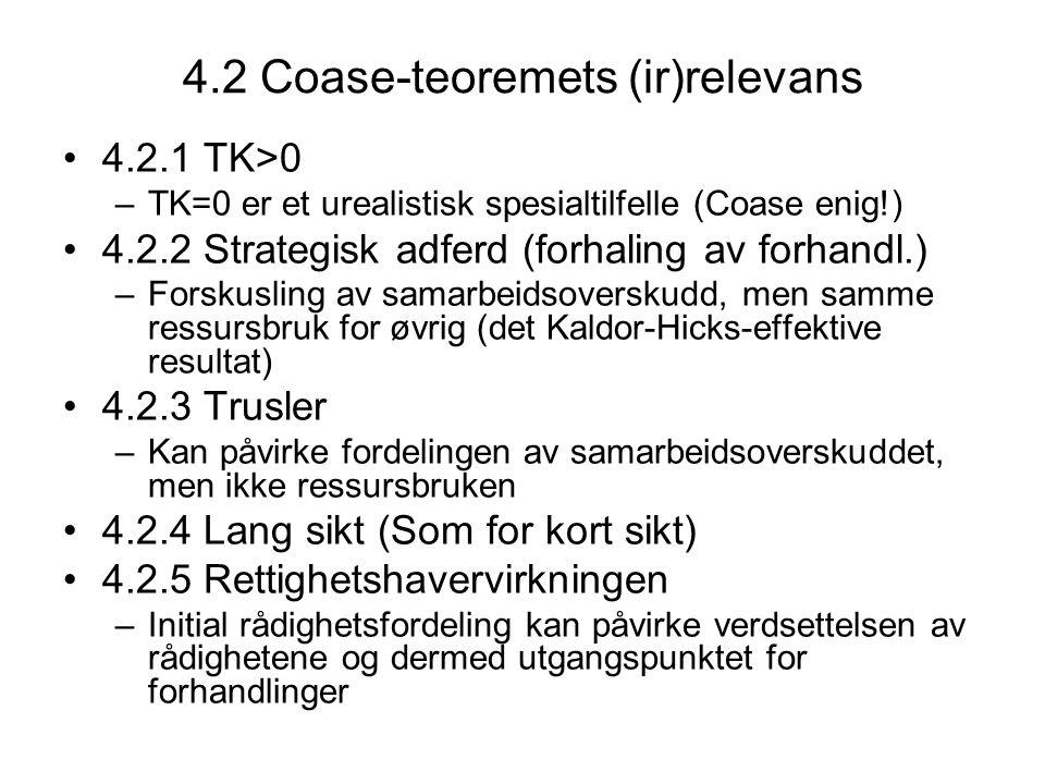 4.2 Coase-teoremets (ir)relevans 4.2.1 TK>0 –TK=0 er et urealistisk spesialtilfelle (Coase enig!) 4.2.2 Strategisk adferd (forhaling av forhandl.) –Fo
