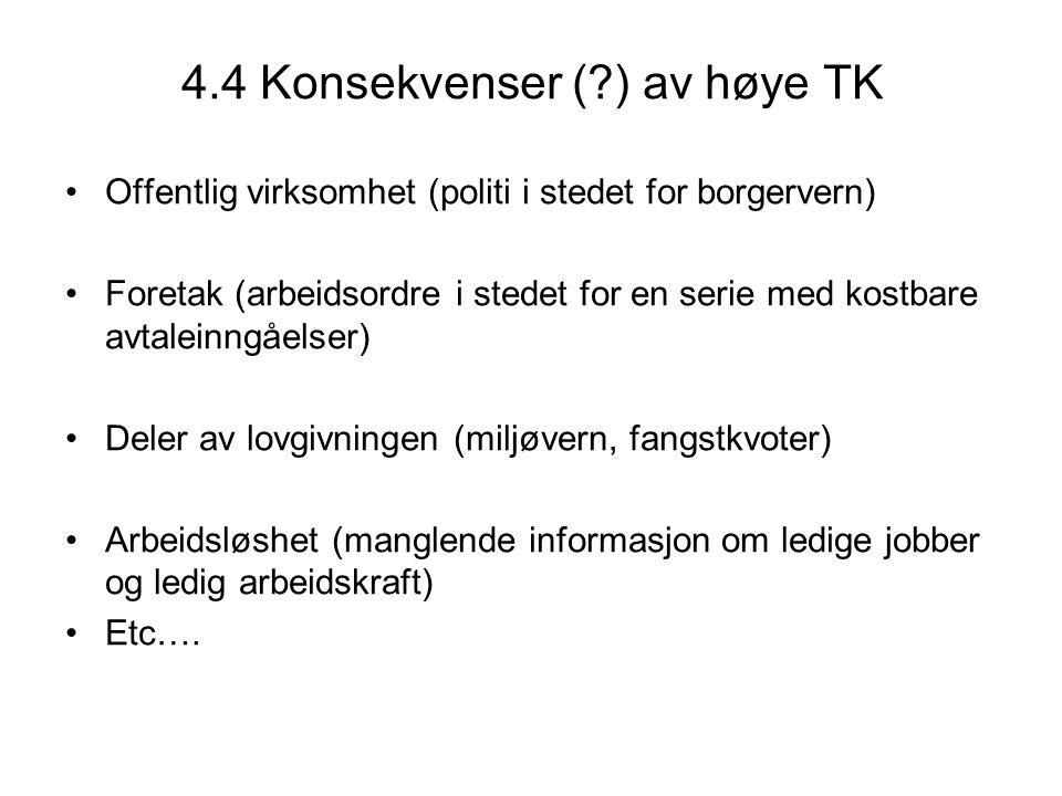 4.4 Konsekvenser (?) av høye TK Offentlig virksomhet (politi i stedet for borgervern) Foretak (arbeidsordre i stedet for en serie med kostbare avtalei