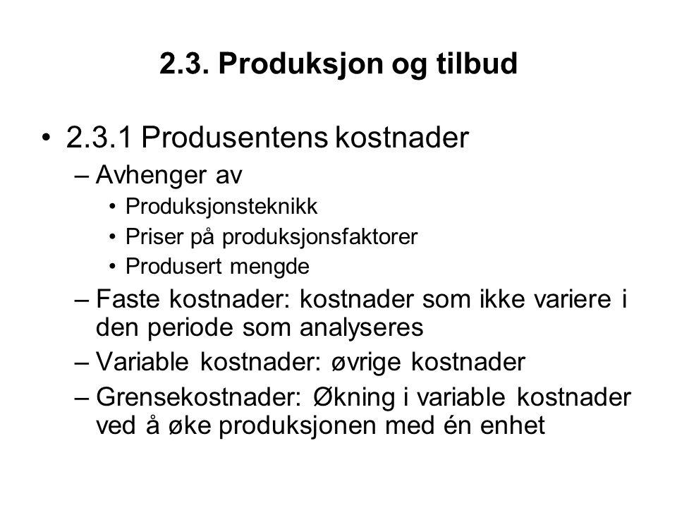 2.3. Produksjon og tilbud 2.3.1 Produsentens kostnader –Avhenger av Produksjonsteknikk Priser på produksjonsfaktorer Produsert mengde –Faste kostnader