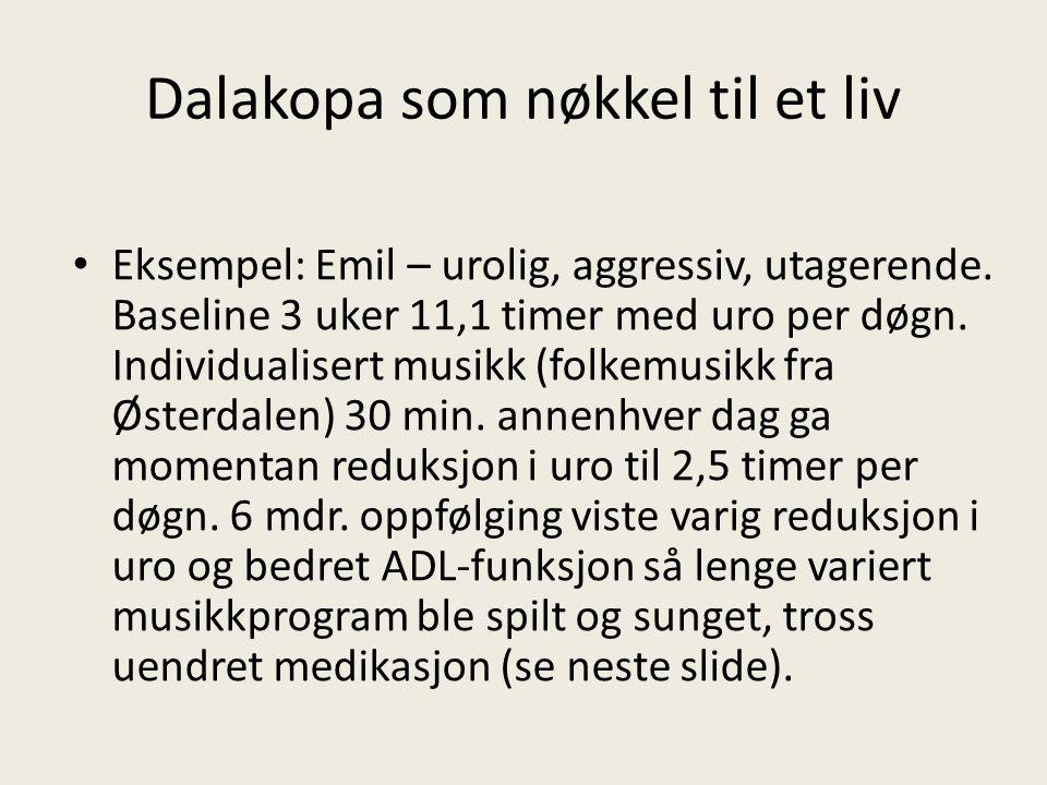 Dalakopa som nøkkel til et liv Eksempel: Emil – urolig, aggressiv, utagerende. Baseline 3 uker 11,1 timer med uro per døgn. Individualisert musikk (fo