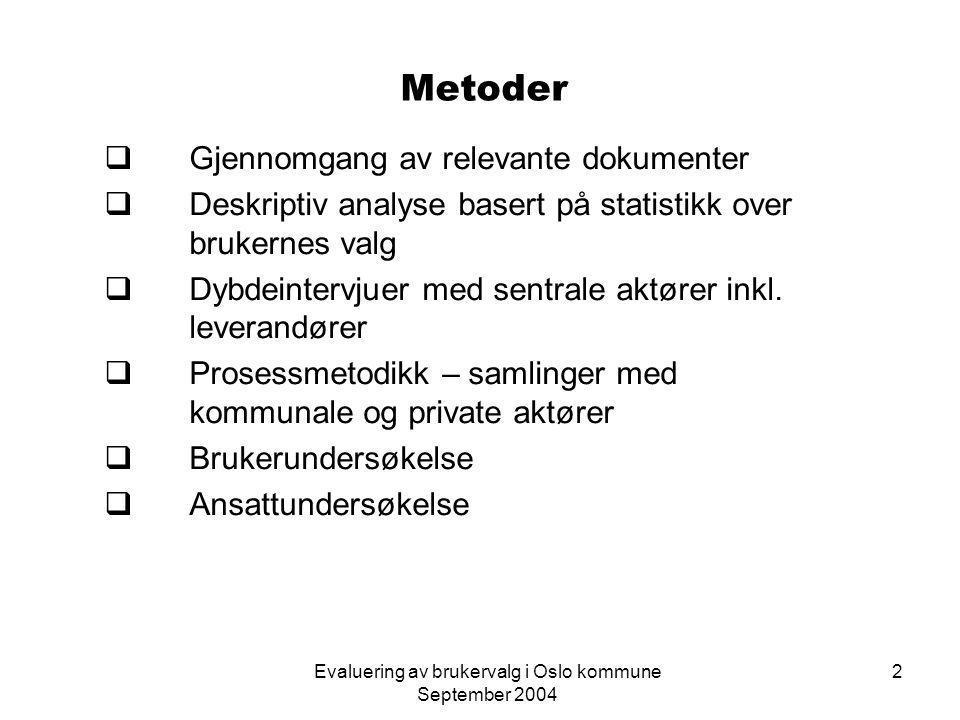 Evaluering av brukervalg i Oslo kommune September 2004 23 Brukernes vurdering av medvirkning Skåre på indeks fra 1 til 100 hvor 0 tilsvarer svært misfornøyd og 100 svært fornøyd E2 = Effektivitetsnettverkene 2002, I2 = ISIT 2002, B4 = brukerund.