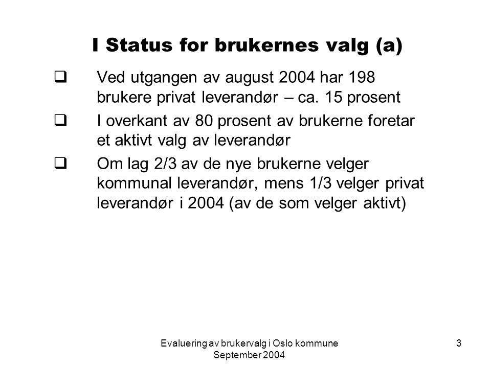 Evaluering av brukervalg i Oslo kommune September 2004 14 III Driftsfasen – organisasjonsmessige konsekvenser  Timeprisen er grei  Tillitsvalgte vurderer timeprisen for lav, sett i forhold til mulighet for kvalitet i tjenestene  Vurdering at inntjeningen ikke er god nok – smh.
