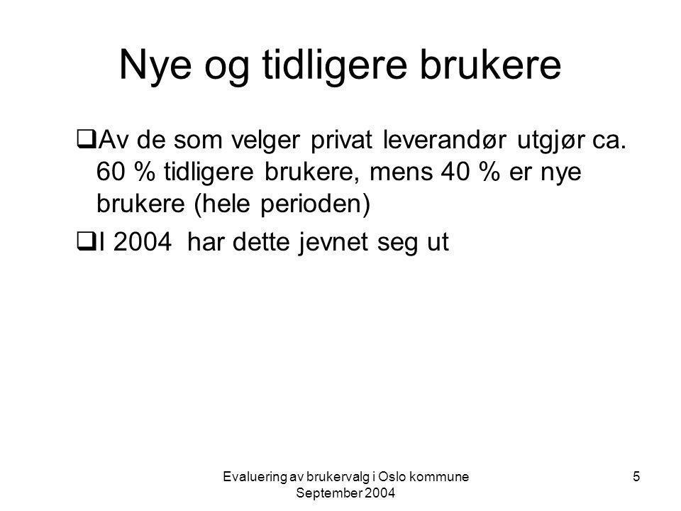 Evaluering av brukervalg i Oslo kommune September 2004 26 Oppsummering  En kan konkludere med at brukerne våren 2004 totalt sett opplever en noe bedre tjenestekvalitet enn før brukervalg ble innført (ISIT- undersøkelsen 2002).