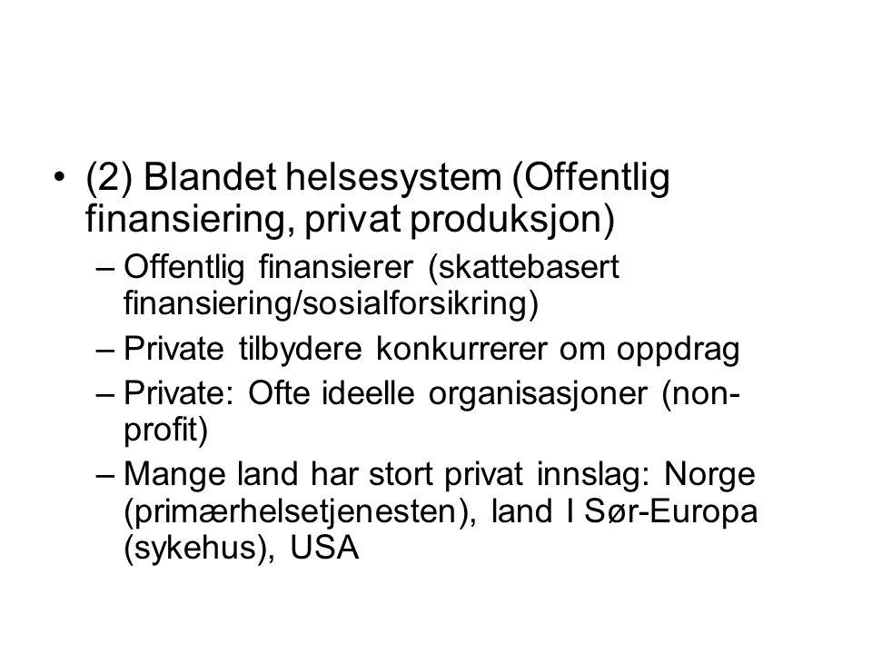 (2) Blandet helsesystem (Offentlig finansiering, privat produksjon) –Offentlig finansierer (skattebasert finansiering/sosialforsikring) –Private tilby