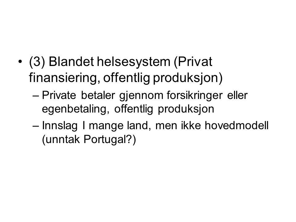 (3) Blandet helsesystem (Privat finansiering, offentlig produksjon) –Private betaler gjennom forsikringer eller egenbetaling, offentlig produksjon –In