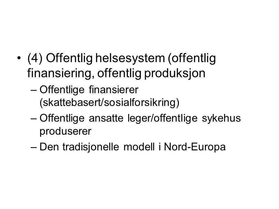 (4) Offentlig helsesystem (offentlig finansiering, offentlig produksjon –Offentlige finansierer (skattebasert/sosialforsikring) –Offentlige ansatte le