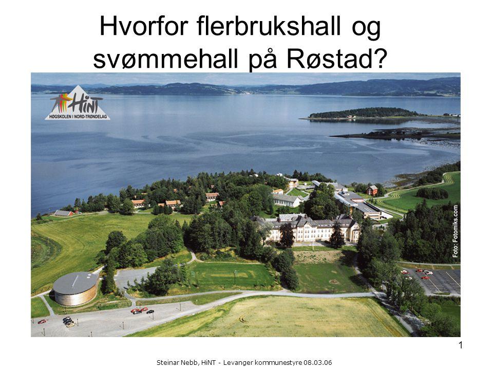 Steinar Nebb, HiNT - Levanger kommunestyre 08.03.06 1 Hvorfor flerbrukshall og svømmehall på Røstad?