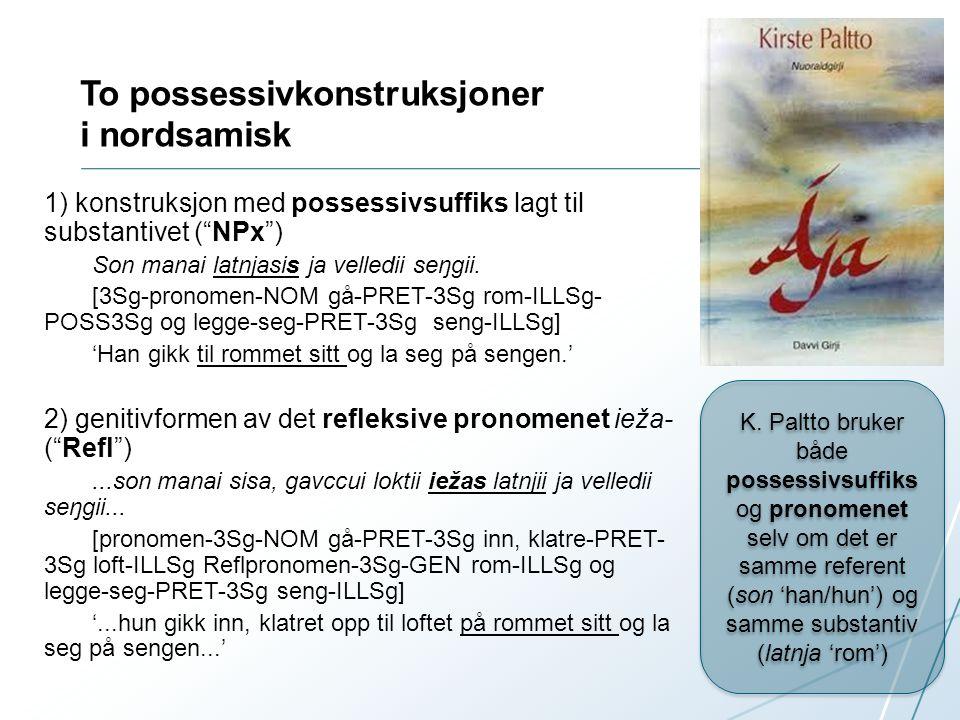 To possessivkonstruksjoner i nordsamisk 1) konstruksjon med possessivsuffiks lagt til substantivet ( NPx ) Son manai latnjasis ja velledii seŋgii.