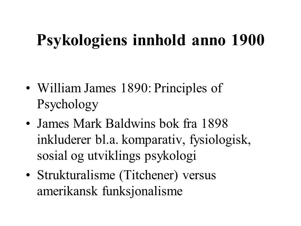 Funksjonalistisk psykologi Basis i eksperimentalpsykologisk forskning på allmenne mentale prosesser (generell psykologi) Basis i evolusjonsteori med vekt på utvikling, tilpasning og og individuelle forskjeller (differensialpsykologi) Spesiell interesse for læring (miljø i motsetning til arv) førte til læringspsykologiens sentrale rolle i amerikansk psykologi (1900 – 1960)