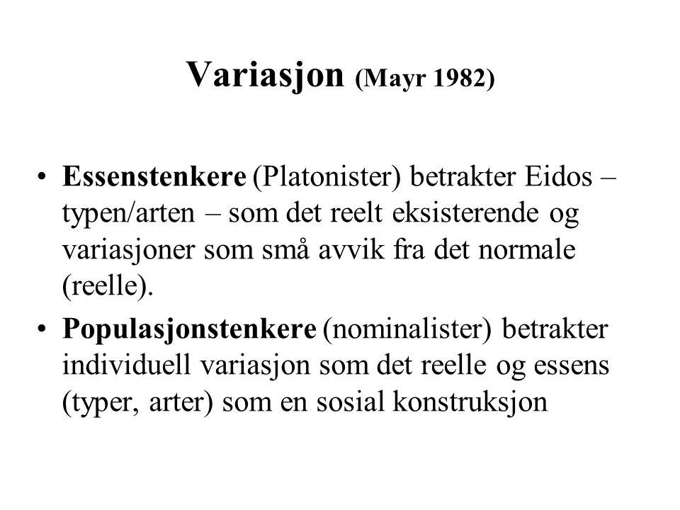 Variasjon (Mayr 1982) Essenstenkere (Platonister) betrakter Eidos – typen/arten – som det reelt eksisterende og variasjoner som små avvik fra det norm