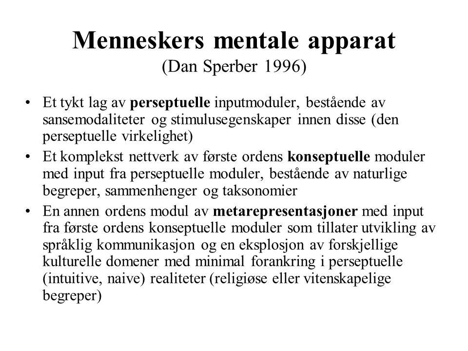 Menneskers mentale apparat (Dan Sperber 1996) Et tykt lag av perseptuelle inputmoduler, bestående av sansemodaliteter og stimulusegenskaper innen diss
