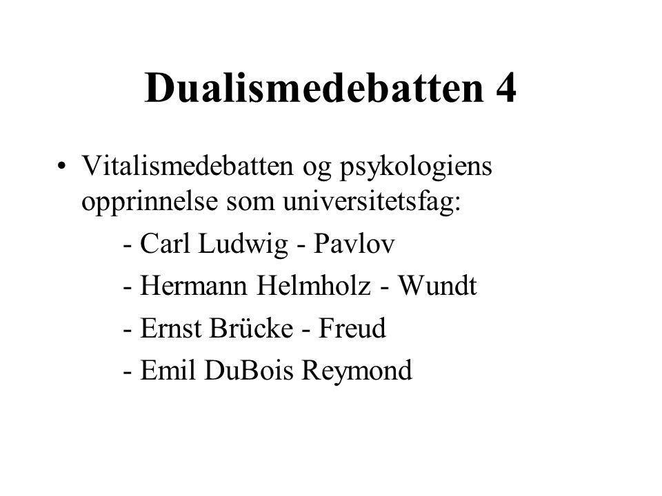 Dualismedebatten 4 Vitalismedebatten og psykologiens opprinnelse som universitetsfag: - Carl Ludwig - Pavlov - Hermann Helmholz - Wundt - Ernst Brücke