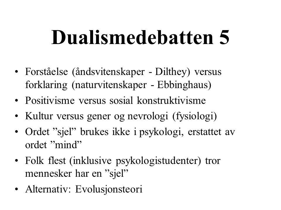 Dualismedebatten 5 Forståelse (åndsvitenskaper - Dilthey) versus forklaring (naturvitenskaper - Ebbinghaus) Positivisme versus sosial konstruktivisme