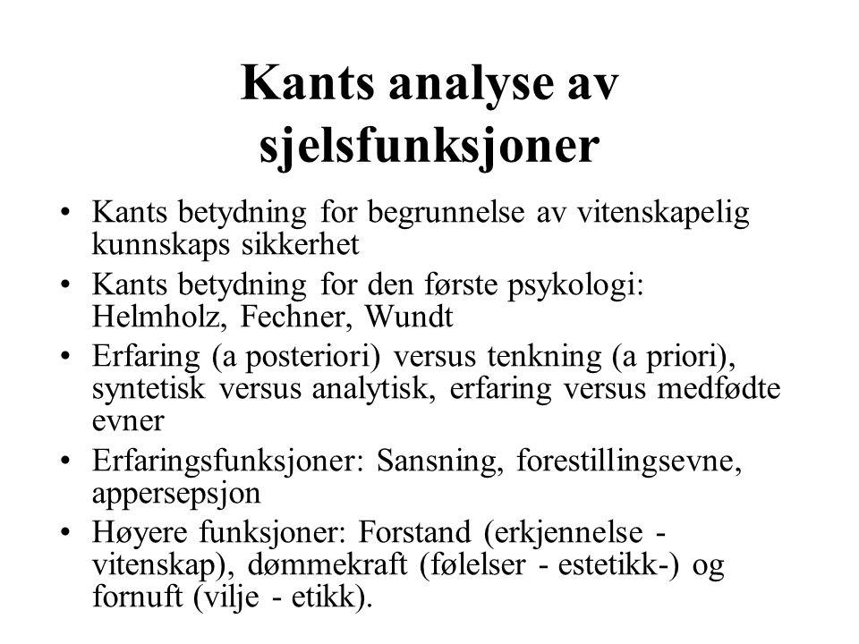 Kants analyse av sjelsfunksjoner Kants betydning for begrunnelse av vitenskapelig kunnskaps sikkerhet Kants betydning for den første psykologi: Helmho