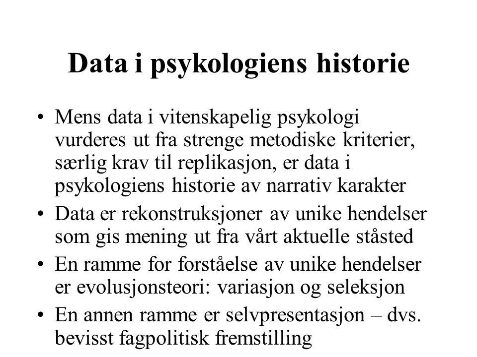 Data i psykologiens historie Mens data i vitenskapelig psykologi vurderes ut fra strenge metodiske kriterier, særlig krav til replikasjon, er data i p